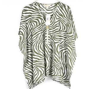 Micheal Kors Zebra Strip Blouse W/ Zipper & Locket